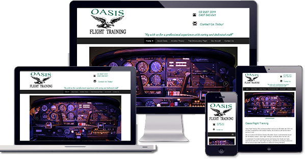 Customised responsive WordPress website created for Oasis FLight Training