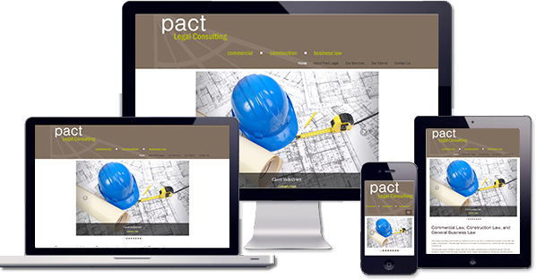 Customised responsive WordPress website created for Pact Legal Consulting