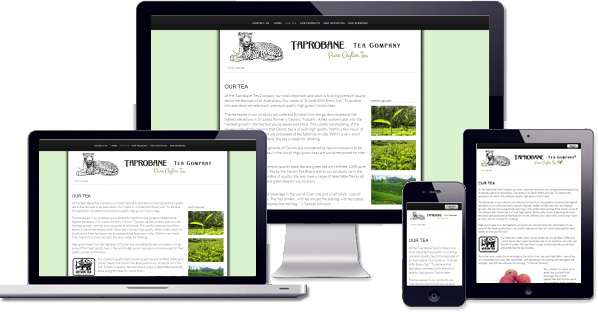 Customised responsive website created for Taprobane Tea Company