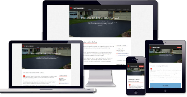 Customised responsive website created for Tarmaster Asphalt